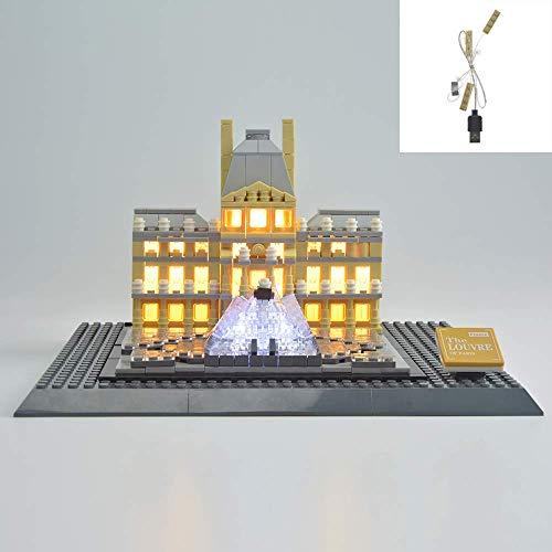 YLJJ DIY USB LED-Lichtset Kompatibel mit Lego Architecture Louvre Building Kit 21024, LED Light Kit für (Architecture Louvre) Bausteine Modell Kinder (Modell enthalten)