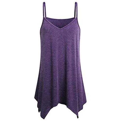 Women Irregular Summer Loose V Neck Flowy Tops Cami Tank Vest Blouse (Purple, XL)