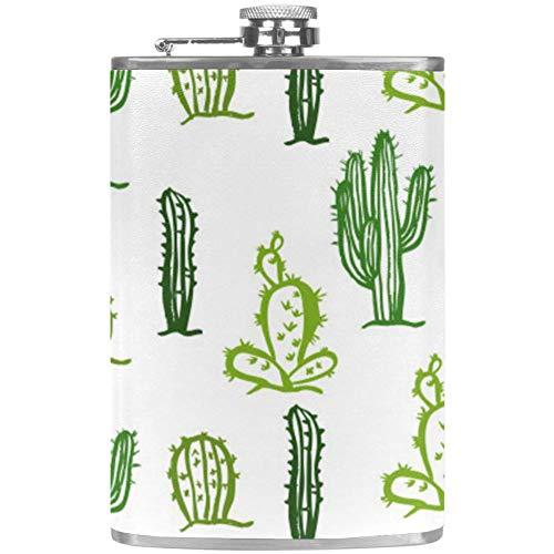 TIZORAX Cactus RVS heuptas Wine Flaon mok met lederen overtrek voor mannen vrouwen vrouwen 227 ml