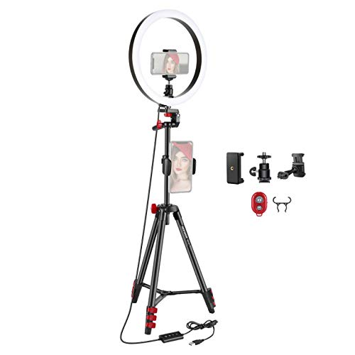 Neewer 12-inch LED Ring Light Selfie Light Ring with Tripod Stand and Phone Holder, 3 Light Modes Dimmable Ringlight with 54-inch Tripod for Live Streaming/Makeup/YouTube/TikTok/Vlog Video Shooting