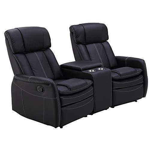 MACOShopde by MACO Möbel Raburg 2er Sofa Kinosessel MAXX in SCHWARZ - Premium Cinema Relax TV-Sessel für 2 Personen, Easy-Lift Relaxfunktion, Soft-Touch-Kunstleder, Getränkehalter + Fach