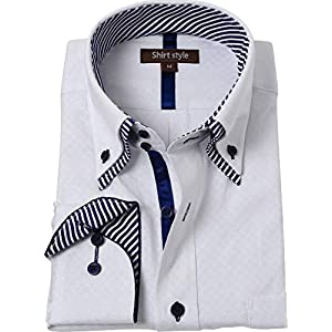 カッターシャツ メンズ 長袖 ボタンダウン 白 おしゃれ ドゥエボットーニ/WHT-030-ボタンダウン-S サイズ