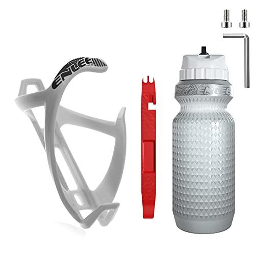 Soporte para Botella de Bicicleta de montaña ENLEE, Material de PC, con Botella de Agua con Aislamiento de Doble Capa y Palanca para neumáticos, para Bicicletas con Orificios para Tornillos (W