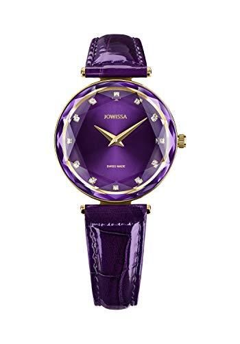 JOWISSA Reloj de pulsera para mujer Facet Brilliant con correa de piel