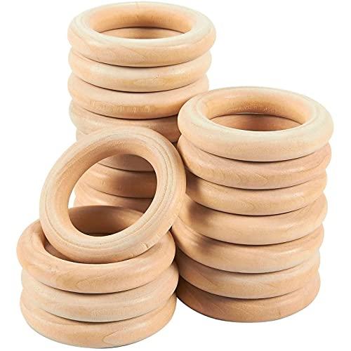 Anillos de madera para manualidades (2.2 pulgadas, 20 unidades)