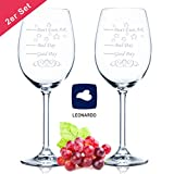 2 copas de vino Leonardo XL – Good Day Bad Day Don't Even Ask – Regalo de cumpleaños – Regalo divertido – Adecuado como copas de vino blanco copas de vino tinto – Regalo original – Copas de vino