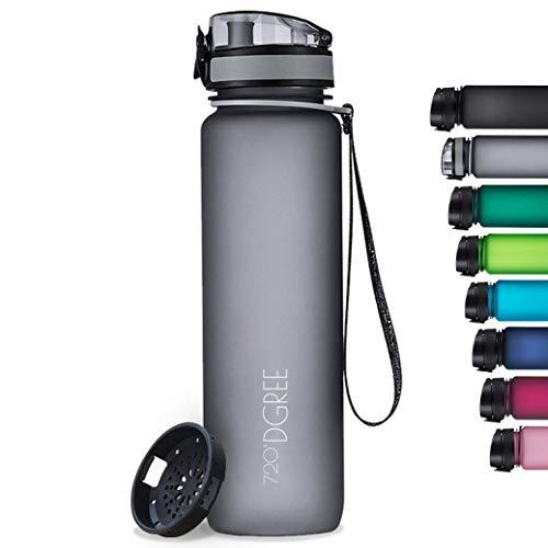 "720°DGREE Botella de Agua ""uberBottle"" softTouch +Tamiz – 1000ml | Impermeable y Reutilizable | para Beber Ideal para niños, Deporte, Escuela | Sin BPA"