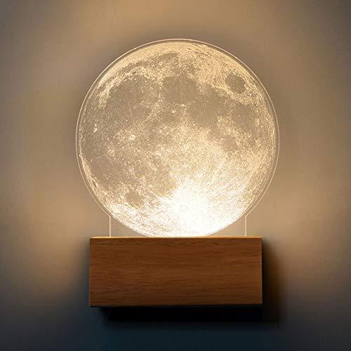 Moderne 5W LED Wandleuchte Innen Holz und Acryl Wandlampe Rund Design Mond Oberfläche Dekoration Nachttischlampe Schlafzimmerlampe Flur Gang Galerie Wandbeleuchtung,3000K Warm Licht