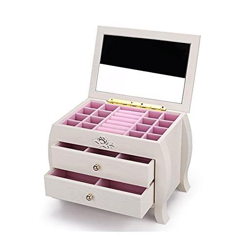 Joyero de madera, organizador de joyas de 3 capas, caja de almacenamiento, organizador de joyas con espejo, color blanco