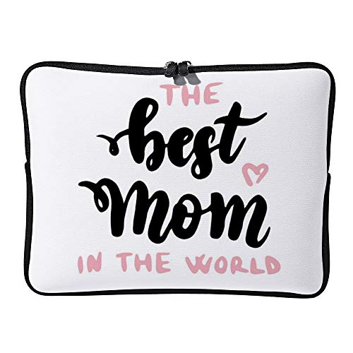 Best Mom in World Handwritten Lettering Laptop Sleeve for Women Notebook Computer Laptop Case Bags for Christmas Birthday Gifts 15-15.6 Inch