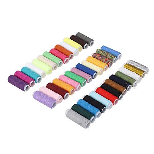 Fdit 39 Colores Hilo de Coser Cordón de Tela Carrete de Hilo Cordón de anudar Chino Especificación estándar 402 Línea para Costura de Retazos Costura a Mano Máquina de Coser