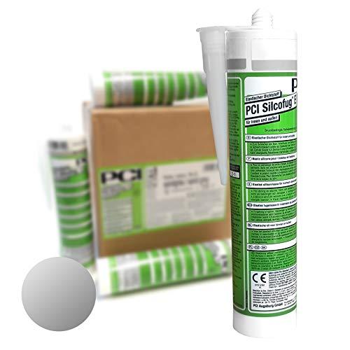 PCI Silcofug E 12 x 310 ml Sanitär Silikon Dichtstoff (silbergrau)