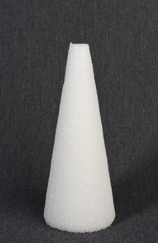 """Set of 2 White Styrofoam Cones 9"""" High for Crafting and Decorating"""