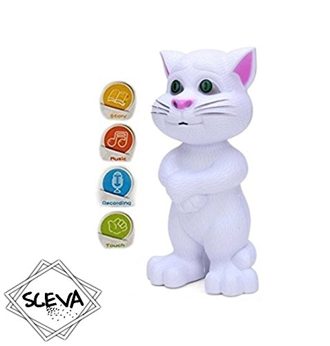 Sceva Cute White Intelligent Talking Tom Cat by with Touch Recording Story Rhymes & Songs,Intelligent Touching Tom Cat with Wonderful Voice.