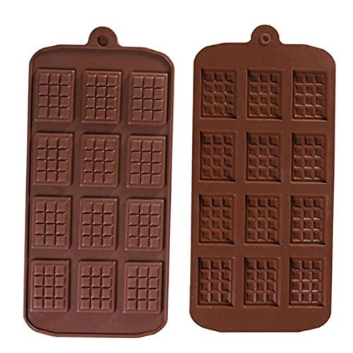 MICHAELA BLAKE Molde del Chocolate de 12 Cavidad del Chocolate DIY silicón de la Bandeja para Hornear la Pasta de azúcar del Molde 2 Piezas de Herramientas