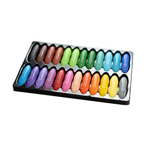 Merkts 24 colori per bambini a base di arachidi gesso, inodore, sicuro, non tossico, non sporco, solubile in acqua, per cancelleria scolastica e materiale artistico