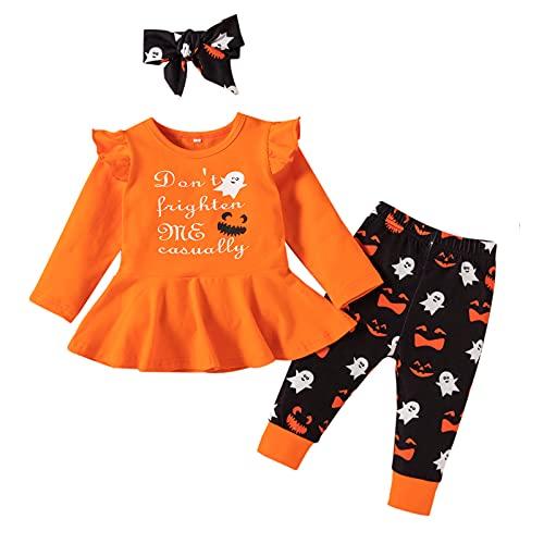BIBOKAOKE 2 piezas de camiseta con volantes, parte superior y pantalón, ropa de bebé, para Halloween, ropa de bebé, ropa de bebé, conjunto de ropa de manga larga, sudadera y pantalones