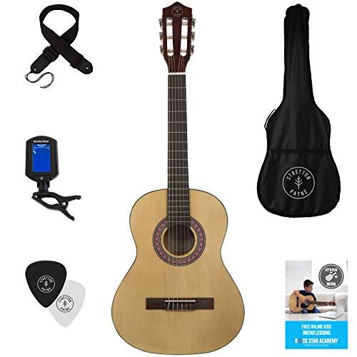 Stretton Payne Kindergitarre, Konzertgitarre, Klassisches Gitarrenpaket 3/4 Größe (36 Zoll) Klassische Nylonsaiten-Kindergitarre im Paket, Natur