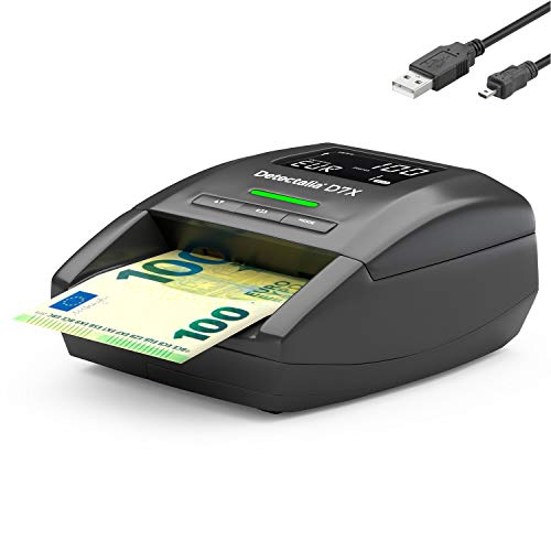 Detectalia D7X - Detector automático de billetes falsos con cable de actualización, 100% detección y listo para los nuevos billetes - 14 x 12 x 6 cm