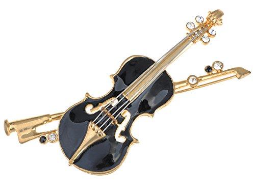 Alilang Damen Elegante Violine Strass Schwarz Gold Geige Brosche