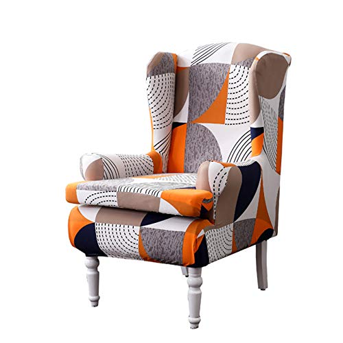 Wing Chair Covers, YBENWL 2 Pieces Stretch Geometric Printed Wingback Chair Slipcovers Elastic Polyester Spandex Fabric Stretch Sofa Armchair Slipcovers Washable Furniture Protector (Colourful)