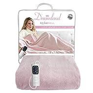 Dreamland Relaxwell Intelliheat+5 Minute Fast Heat Luxury Dusky Pink Heated Electric Throw, 120x160 ...
