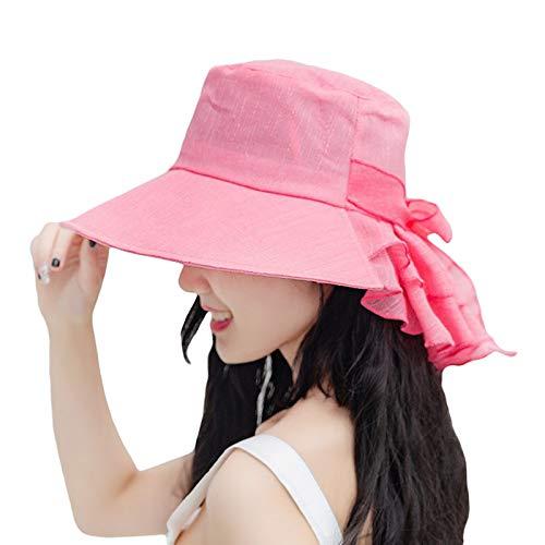COMVIP - Sombreros de protección UV para el sol, plegable, para verano, con correa de barbilla de 56 a 58 cm Rojo rosso Talla única
