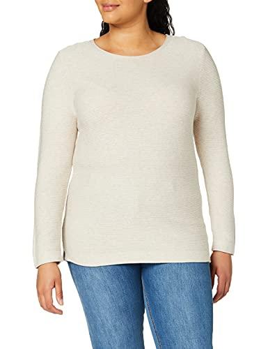 TOM TAILOR Damen Struktur Strickpullover Sweatshirt, 24192-dusty Alabaster Melange, XL