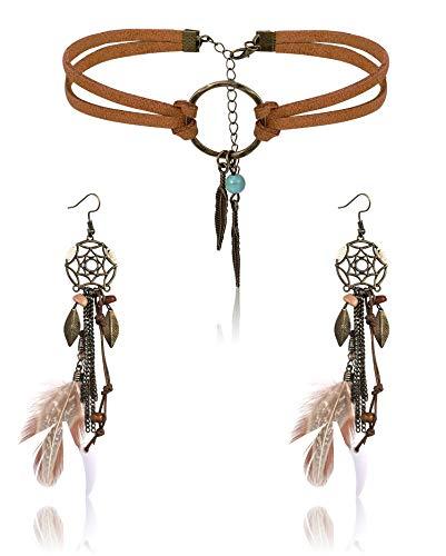 Finrezio Leather Choker Necklace Earring Set for Women Girls Handmade Bohemian Dream Catcher Long Faux Feather Drop Dangle Earrings Retro Necklace Jewelry Set
