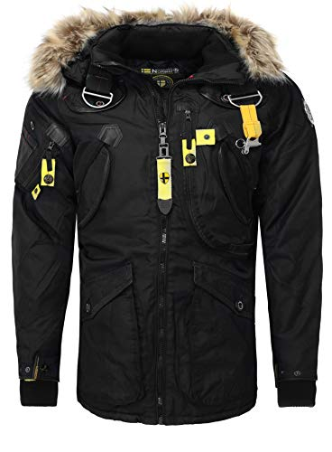 Geographical Norway Herren Stylische Winterjacke Wintermantel Langjacke AGAROS Fleece Fellkragen Warm schwarz M