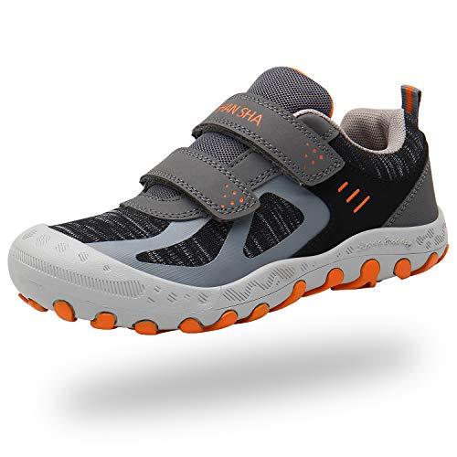 Mishansha Niños Zapatillas Senderismo para Montaña Trekking Trail Ligero Zapatos para Caminar Niña Velcro Calzado Correr Infantil Antideslizante Bambas Chicos(232 Gris, 27 EU)