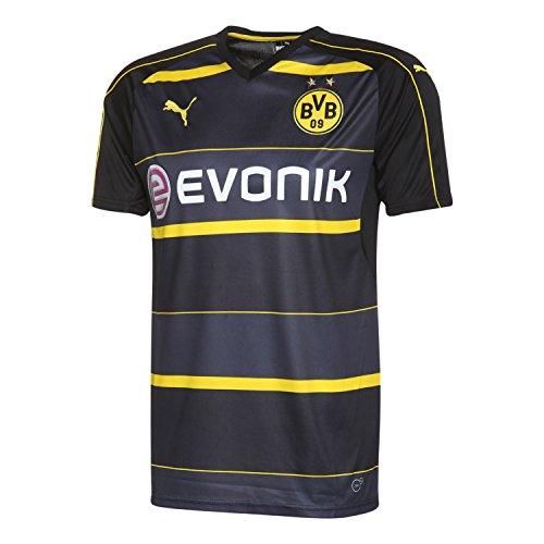 PUMA Herren Trikot BVB Away Replica Shirt with Sponsor Logo, black-Cyber yellow, S
