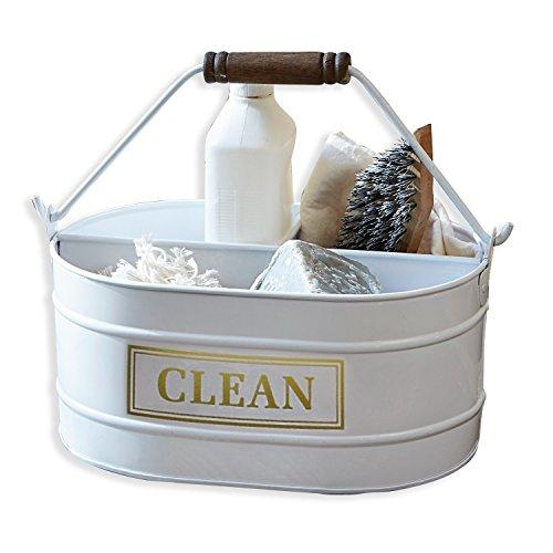 Loberon Eimer Clean, Eisen/Mangoholz, H/B/T ca. 16/20 / 29,5 cm, weiß