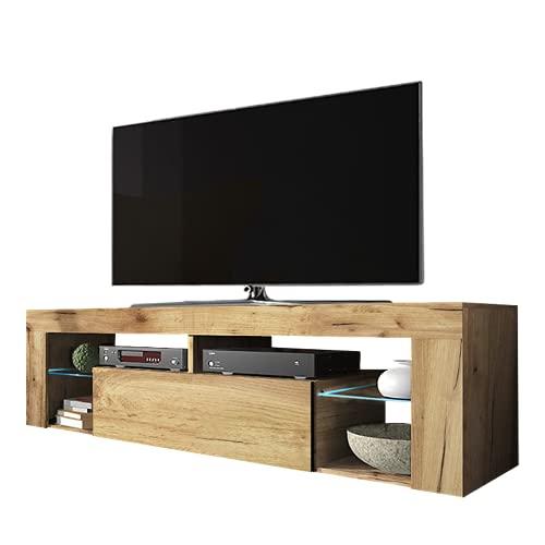 Selsey Bianko – TV-Lowboard / Fernsehschrank Stehend mit Klapptür und LED Beleuchtung , Holzoptik Eiche Lancaster, 35 x 140 x 51 cm