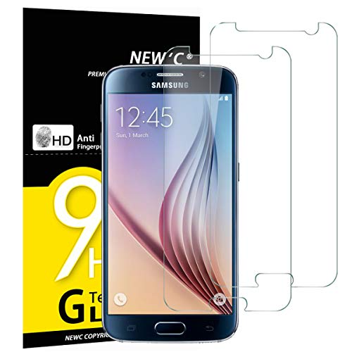 NEW'C Lot de 2, Verre Trempé Compatible avec Samsung Galaxy S6 Film Protection écran sans Bulles d'air Ultra Résistant (0,33mm HD Ultra Transparent) Dureté 9H Glass