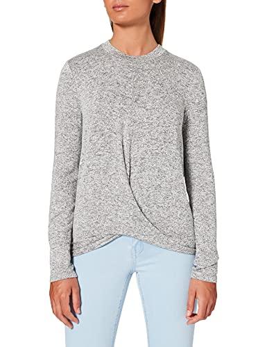 Marca Amazon - find. Camiseta de Manga Larga y Cuello Redondo Mujer, Gris (Grey), 38, Label: S
