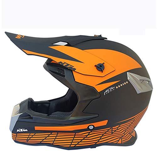 LXMJ Helm, Ganzjahreshelm, Motorrad/Offroad Rennsport für Herren, kostenlose Maskenhandschuhe, Geeignet für Kopfumfang von 57 bis 59 cm (22,4 bis 23,2 Zoll), Dumb Black KTM