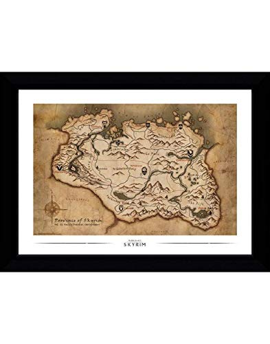 GB eye LTD PFP028 - Lámina enmarcada (50 x 70 cm, madera, 55 x 75 x 2,9 cm), diseño de mapa de Skyrim, color negro