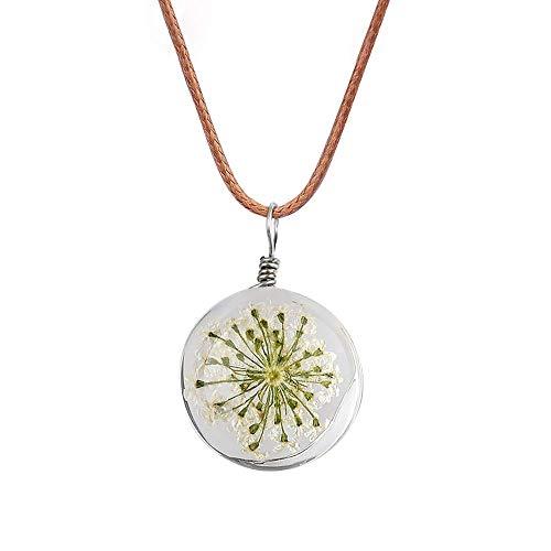 Collar Nigoz con colgante de bola de piel transparente con piedras preciosas y dientes de león para mujer, elegante accesorio de joyería para boda, regalo de compromiso, color blanco