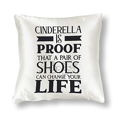 GenericBrands Satin Pillowcase Double Sided Printing Cinderella is Proof That A Black Pillowcases, Pillowcase for Hair and Skin, Pillows for Sleeping, Throw Pillow Covers, Cushion, The Best Gift.