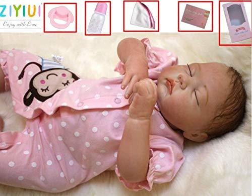 ZIYIUI 20 Zoll 50cm Reborn Babypuppe Mädchen Weiche Silikon Vinyl Lebensecht Reborn Mädchen Wahres Leben Neugeborene Babyspielzeug Magnetisch Mund Geburtstagsgeschenke