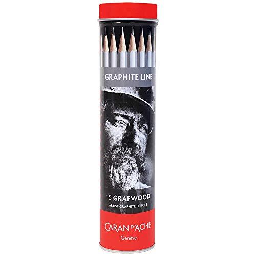 Caran d´Ache 0775.315 Graphite Line – Grafwood Sortiment mit 15 Härtegraden, 775.315