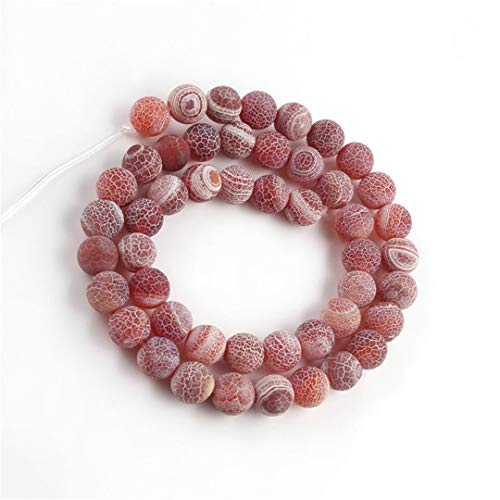 Caviland Frosted Cracked Dream Fire Dragon Veins Agates Onyx Beads Natural Stone Beads For Jewelry DIY Making Bracelet 15 Inch 6 8 10 Mm Red 6mm (approx 61pcs)