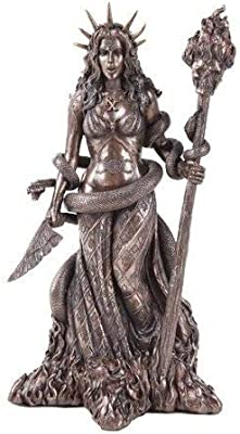 """Bronze Finish Resin 9/"""" Height Frigga Figurine with Staph and Round Shield"""