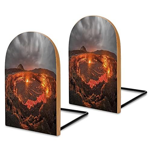 Fermalibri Vulcanic Eruption per scaffali, in legno Sapele per scrivania da ufficio, estremità per libri antiscivolo, per libri, film, DVD, libri, 13 x 8 x 4 cm