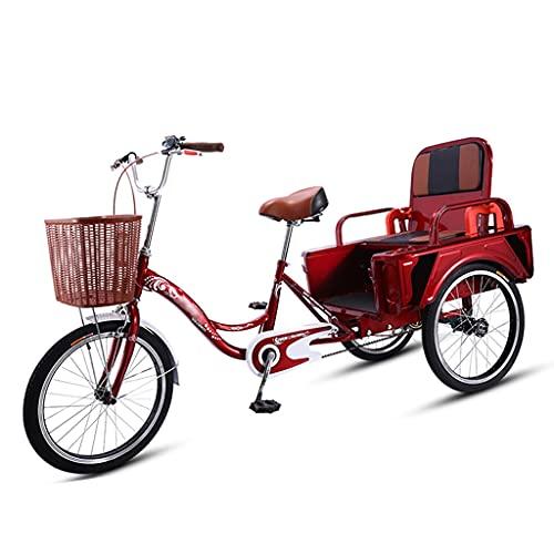 OFFA Luxury 3 Wheel Bikes Adult Tricycle Seniors, Trike 20 Pulgadas Crucero De Tres Ruedas Bicicletas Pasajeros Y Carga Dual-Uso para Recreación, Compras, Bicicleta para Mujer para Hombres.