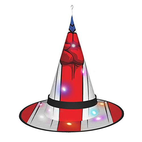 rouxf Refresco Red Coke Led Brillante Navidad Halloween Sombrero de Bruja para Fiesta Disfraz Cosplay Accesorio Diario para adentro