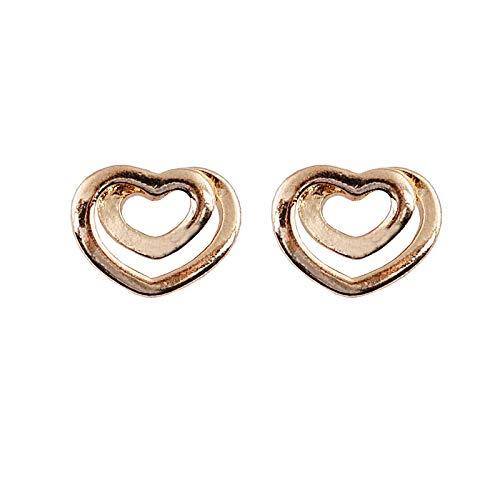 Orecchini pendenti in oro con doppio ciondolo da donna Lucentezza lucida in oro pieno di gioielli Orecchini a forma di cuore Orecchio Regalo femminile