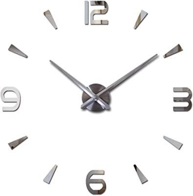 Modern DIY Wall Clock, Fashion Arabic Numbers and Pointer Scale, Frameless Metal Wall Clock