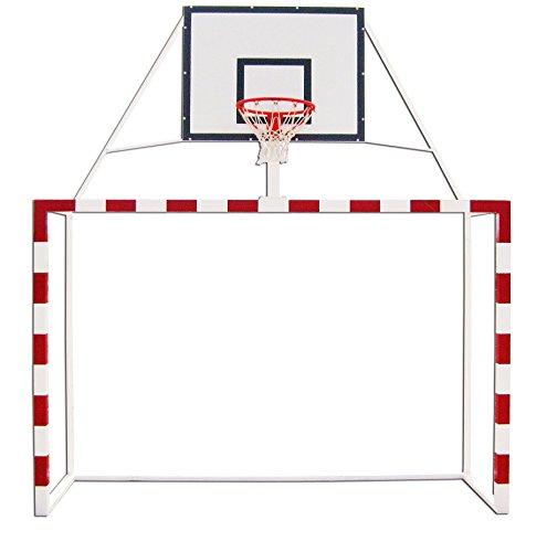 Portería balonmano con canasta minibasket tablero DM aro extraible. Redes incluidas